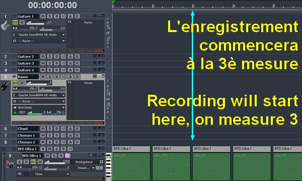 Recording starts at measure 3